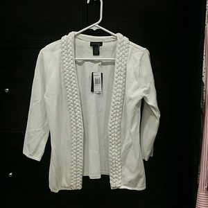 Grace White knit open cardigan new
